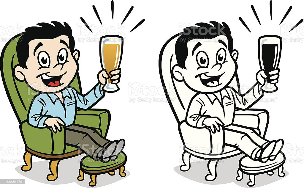 Sessel comic  Mann Trinken Bier Im Sessel Vektor Illustration 455589479 | iStock