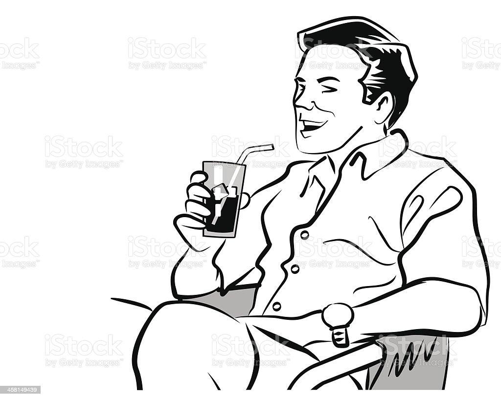 Man drinking a soda royalty-free stock vector art