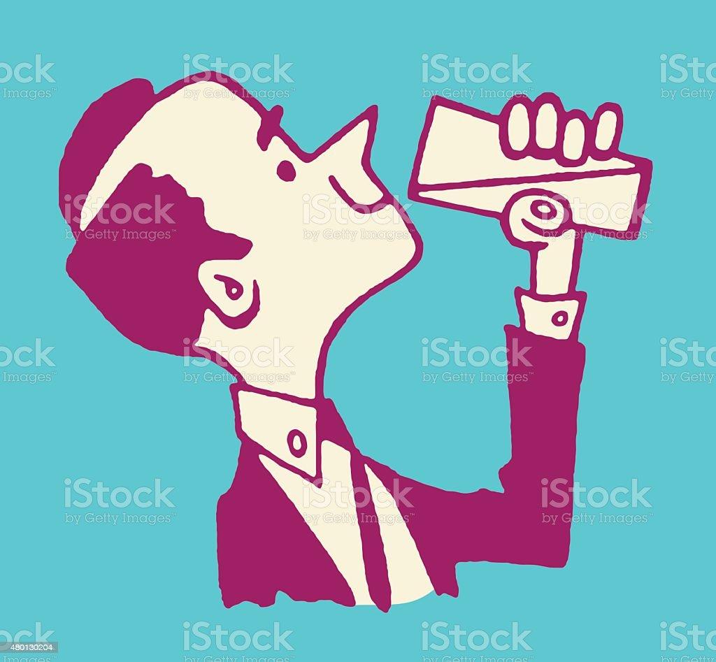 Man Drinking From a Glass vector art illustration