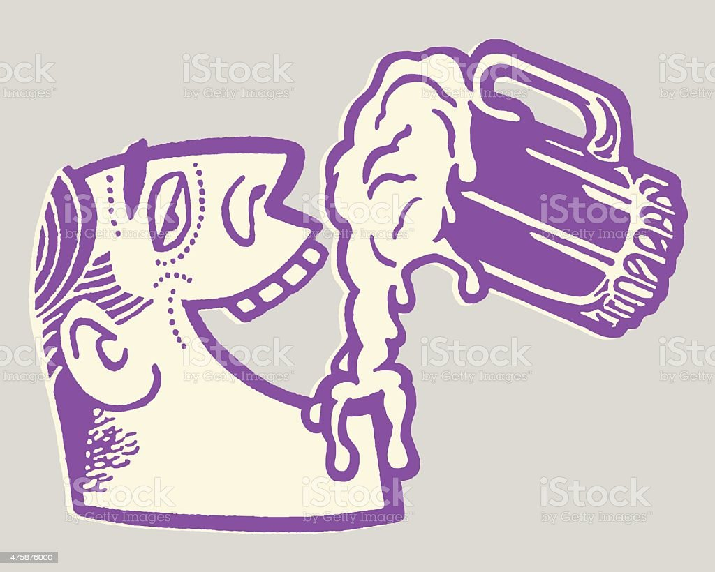 Man Drinking From a Mug of Beer vector art illustration