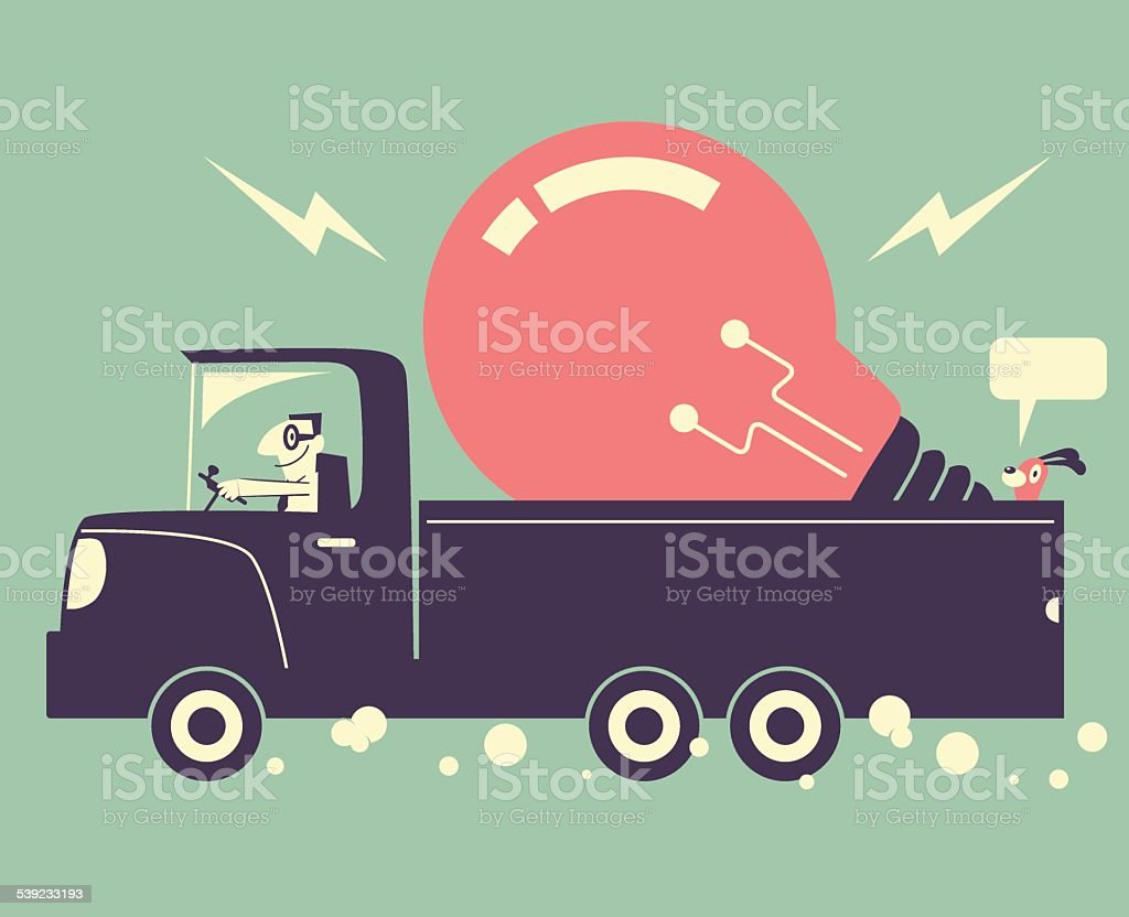 Man driving a truck and delivering a great idea light bulb vector art illustration