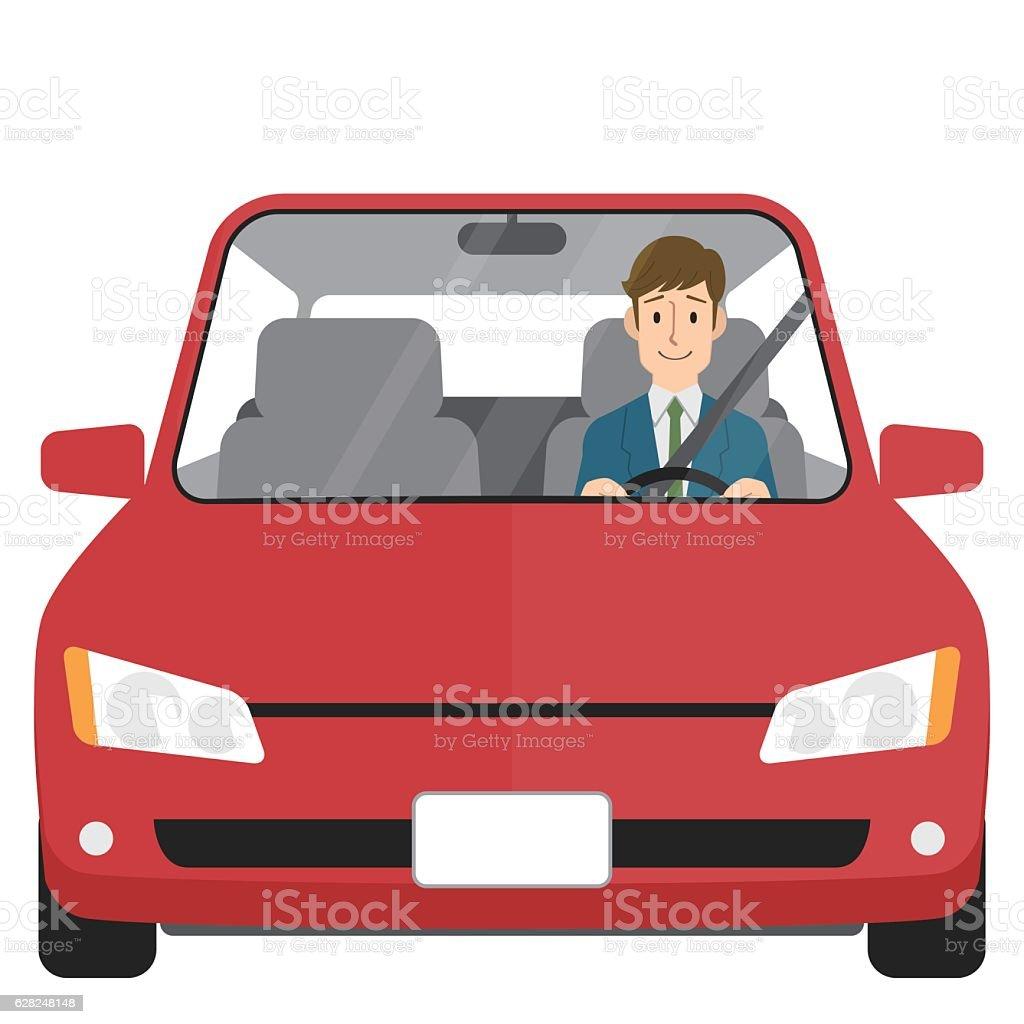 Man driving car vector art illustration