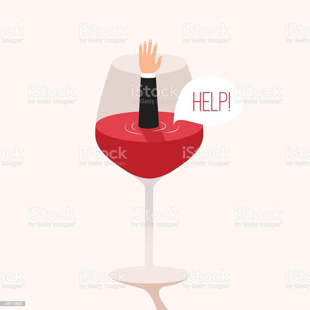 Man drowned in wine. Cartoon vector illustration vector art illustration
