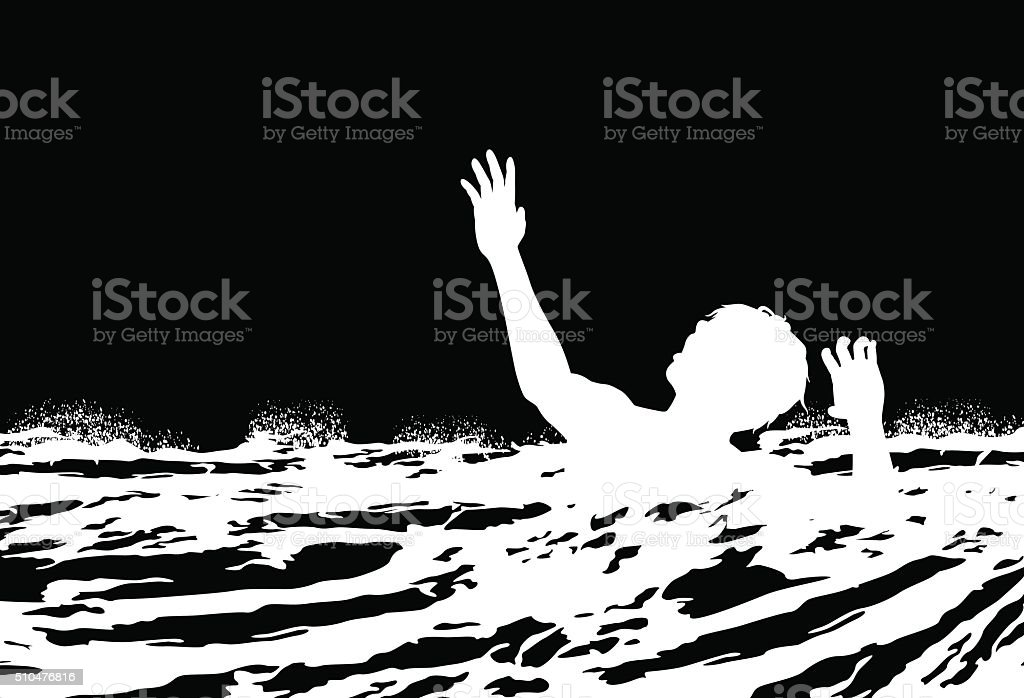 Man drowning vector art illustration