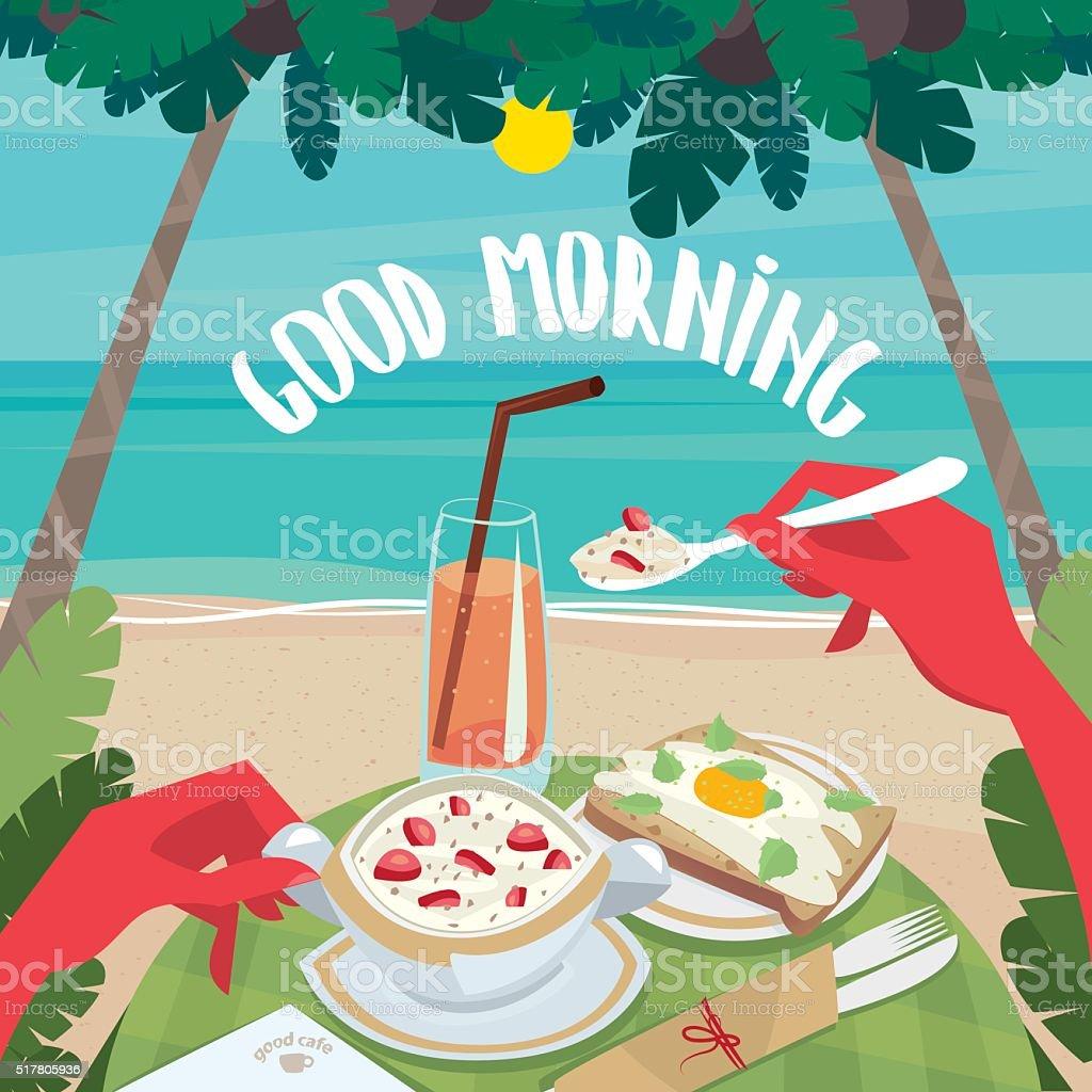 Man eating a continental breakfast on the ocean vector art illustration
