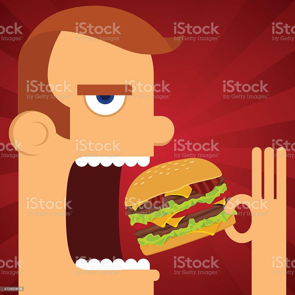 Man eating burger vector art illustration