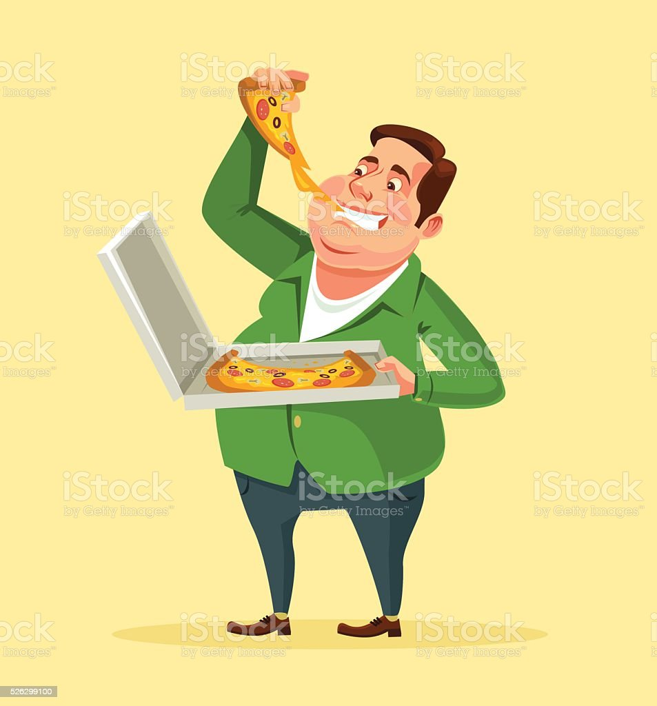 Man eating pizza. Vector flat cartoon illustration vector art illustration