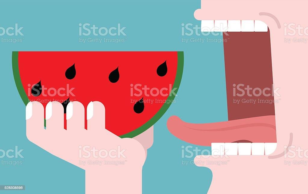 Man eating watermelon. fruit consumption. Red fresh slice of wat vector art illustration