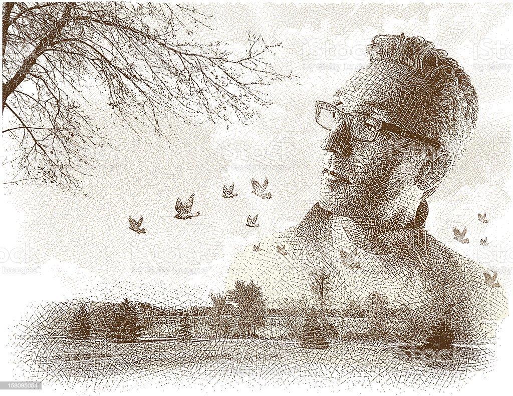 Man Enjoying Nature Etching royalty-free stock vector art