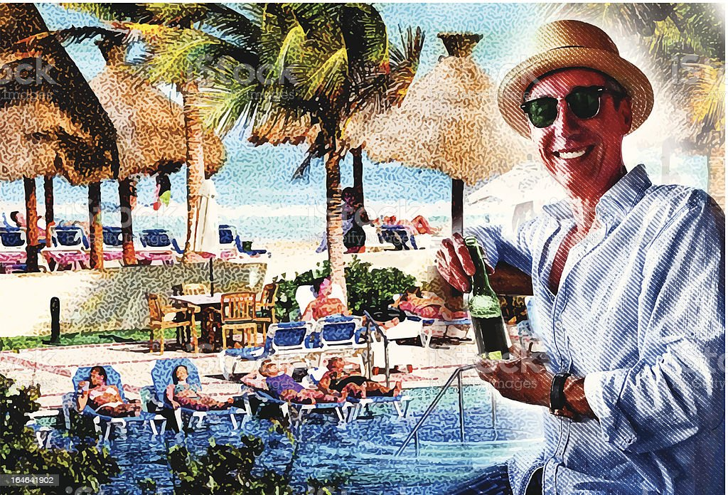 Man Enjoying Resort Swimming Pool and Beach vector art illustration