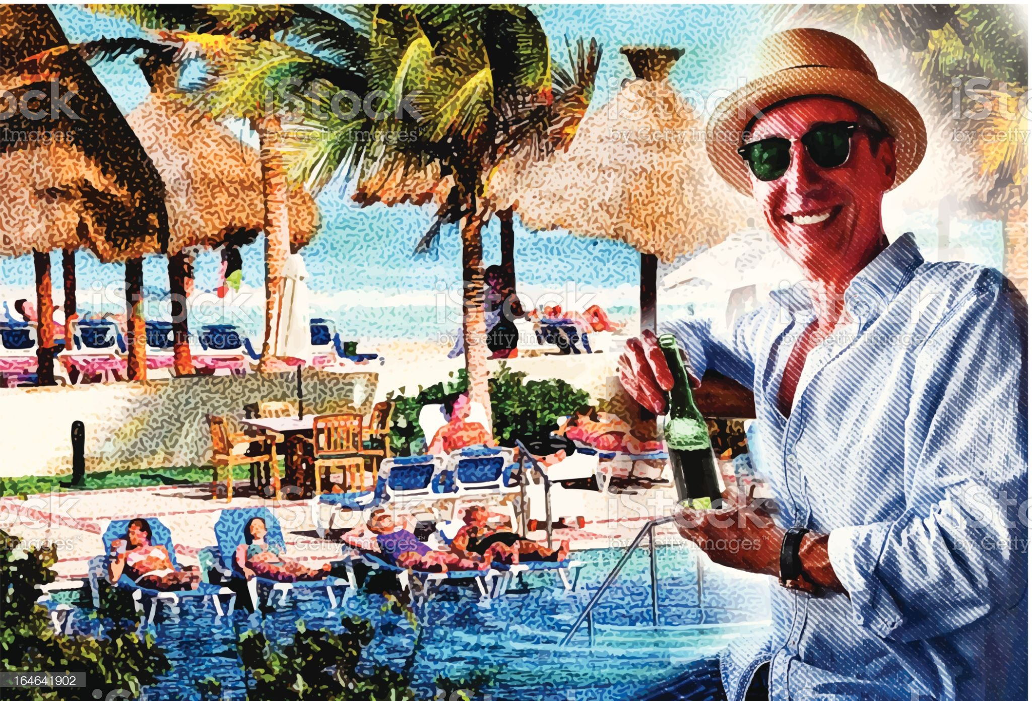 Man Enjoying Resort Swimming Pool and Beach royalty-free stock vector art