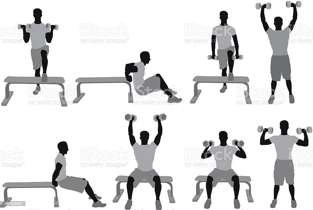 Man exercising with dumbbells royalty-free stock vector art