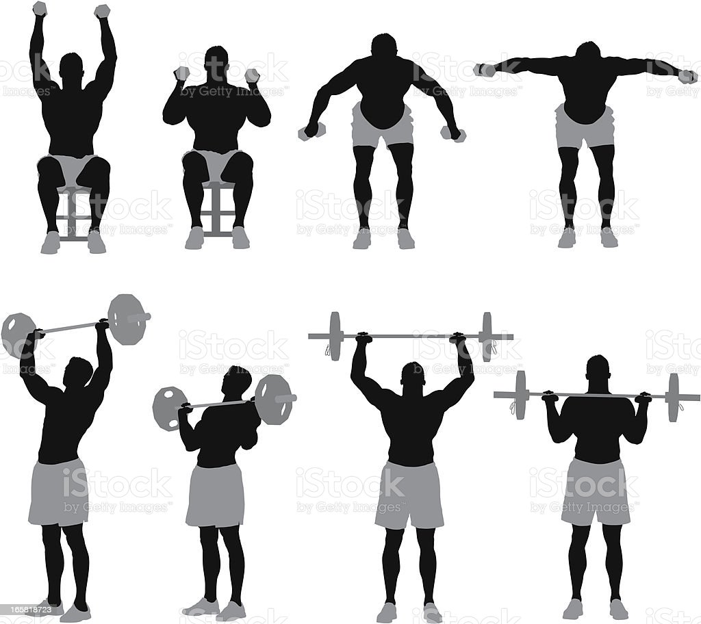 Man exercising with weights royalty-free stock vector art