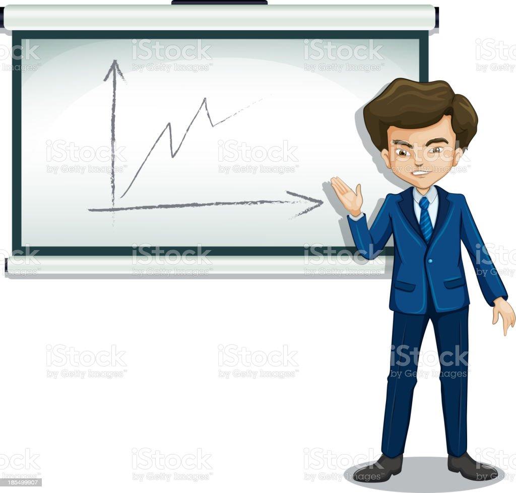 man explaining the graph in  bulletin board royalty-free stock vector art