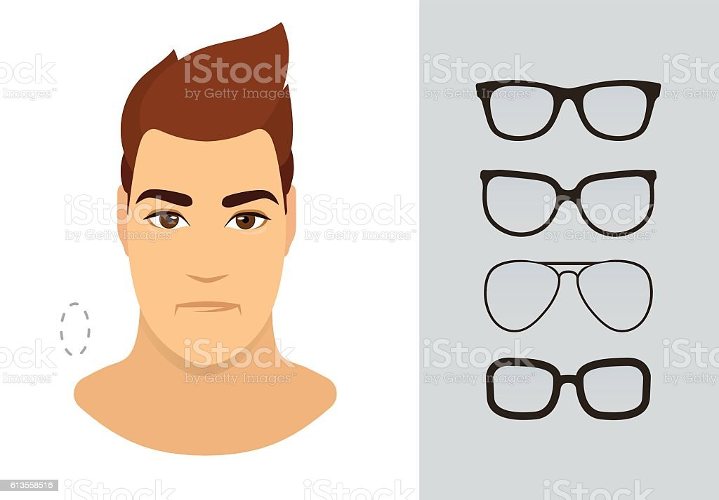 Man eyewear shapes for oblong man face type. Vector illustration vector art illustration