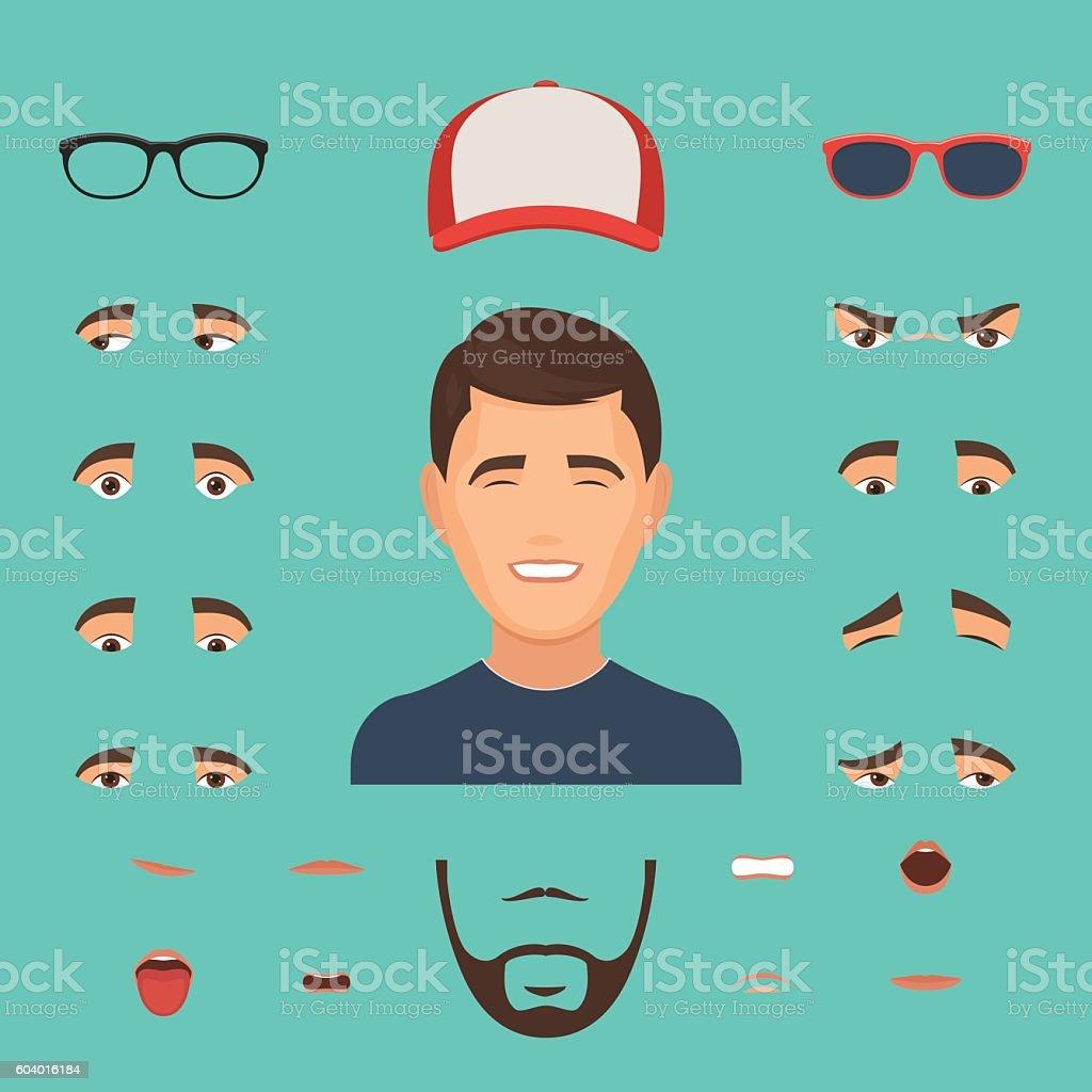 Man face emotions constructor vector art illustration