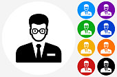 Man Face Icon on Flat Color Circle Buttons