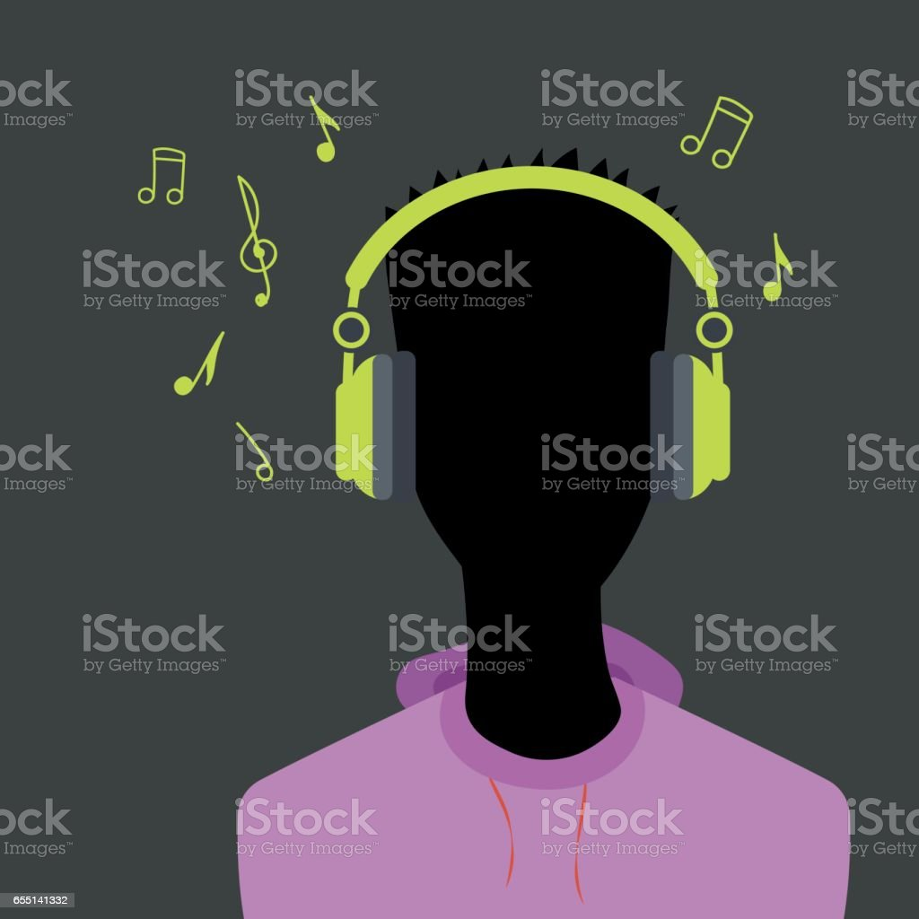 Man face silhouette with headphone vector art illustration