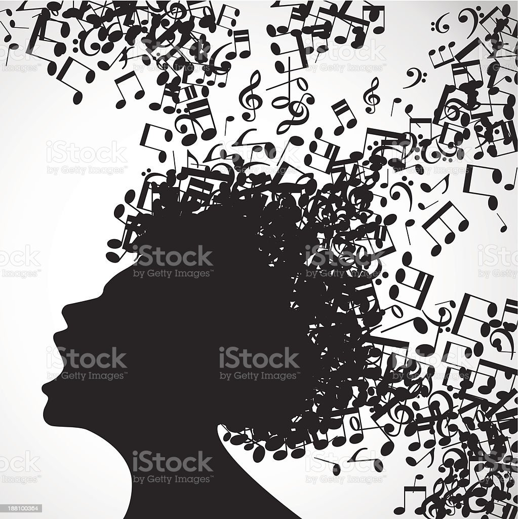 man face with musical hair royalty-free stock vector art
