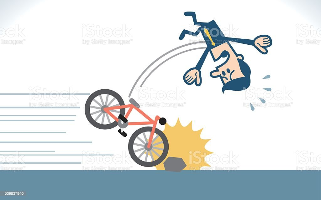 Man fall from a bike vector art illustration