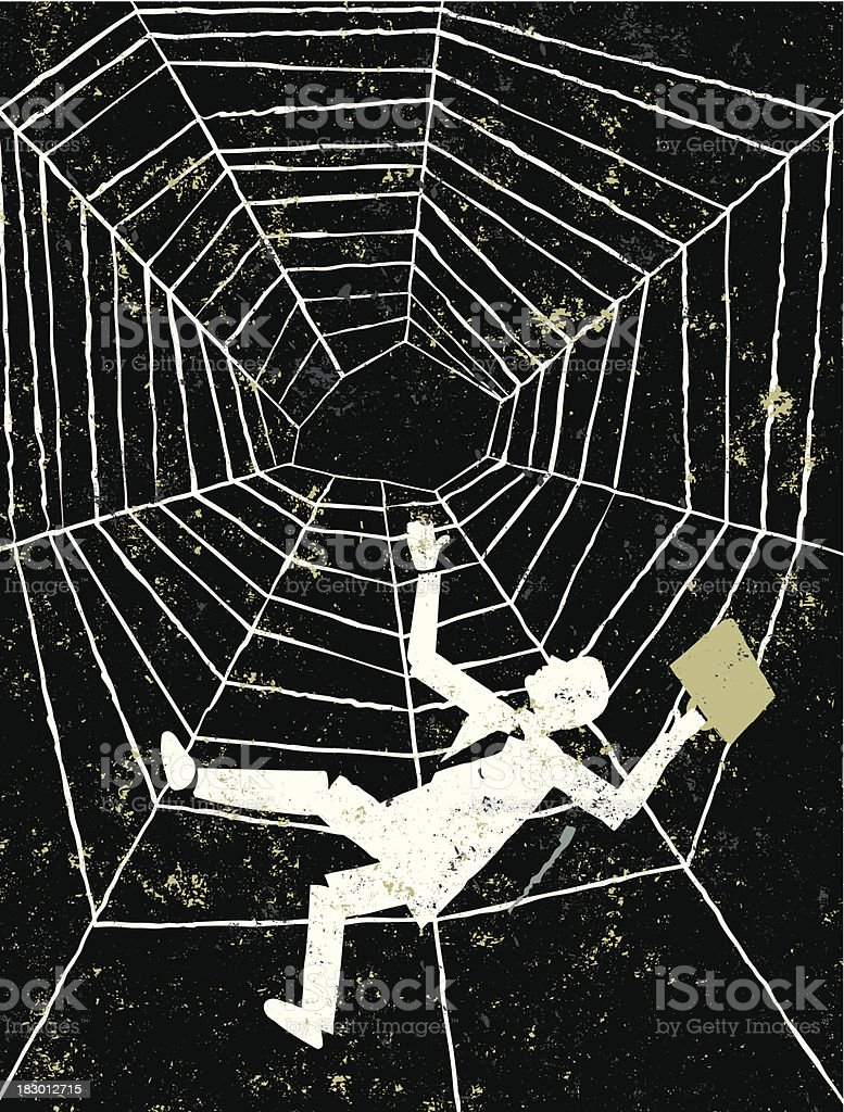 Man Falling Spider's Web royalty-free stock vector art