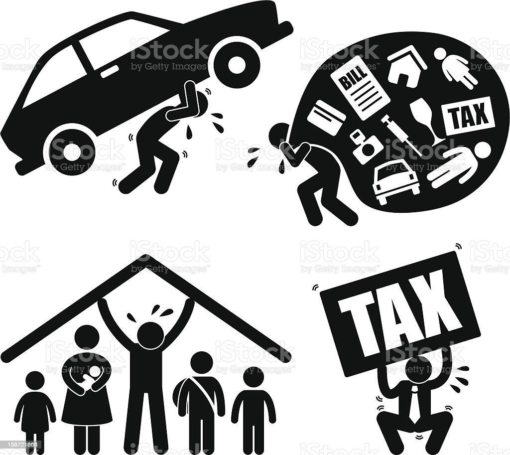 Man Family Financial Burden Pictogram vector art illustration