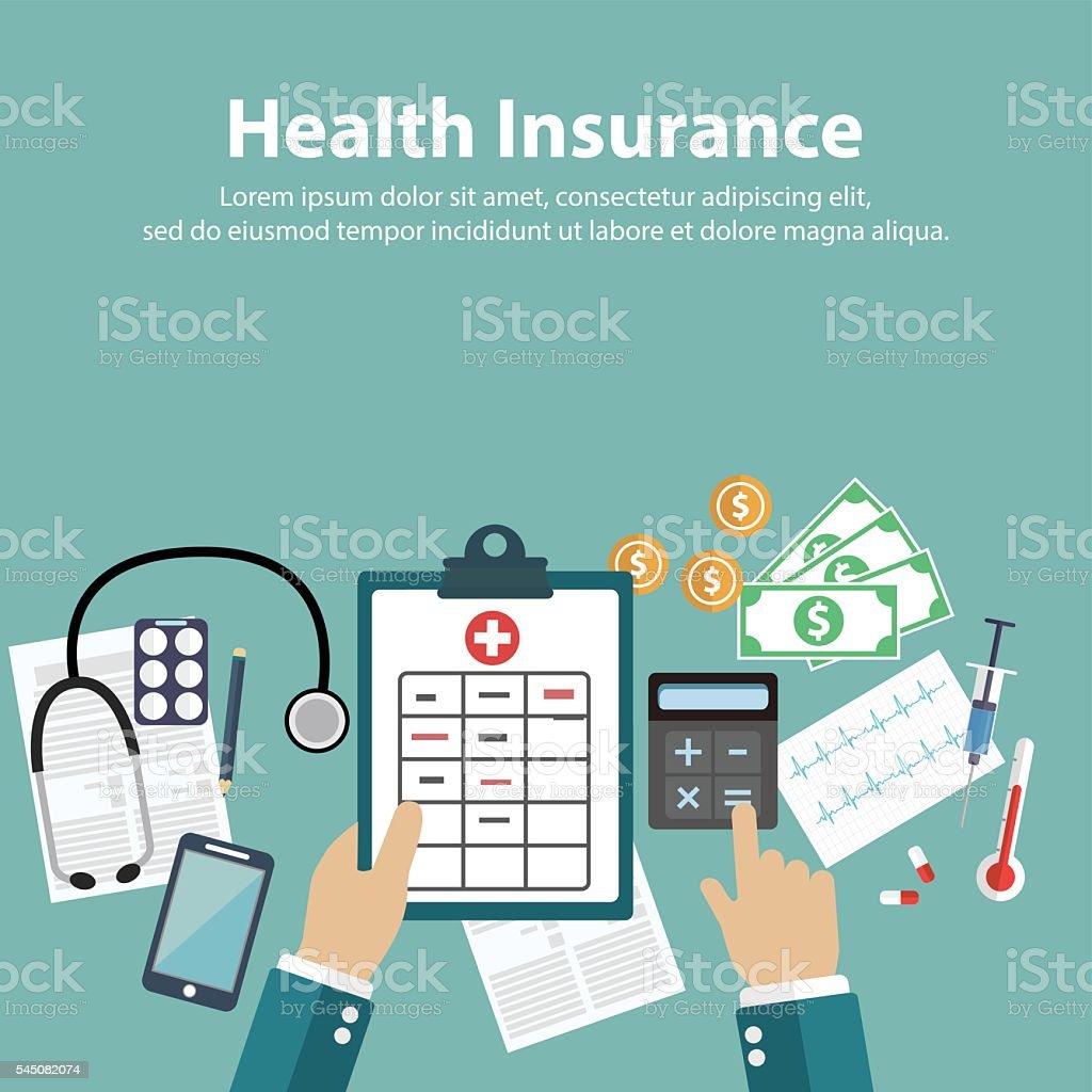 Man fills in the form of health insurance. vector art illustration