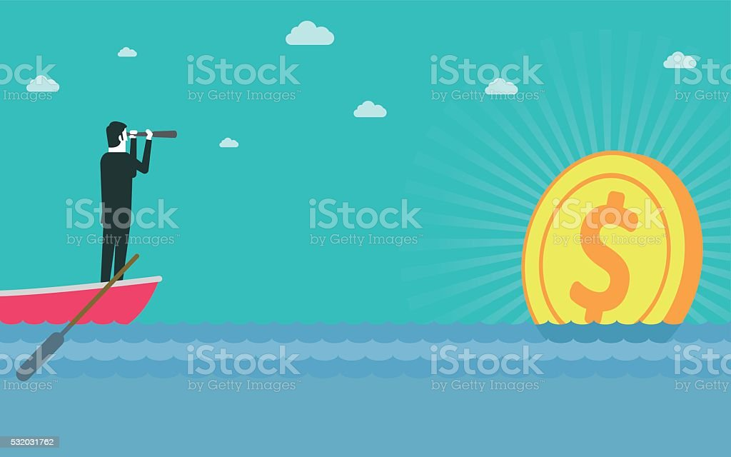 Man find money vector art illustration