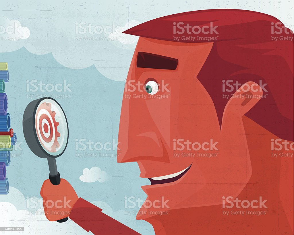 man finding target royalty-free stock vector art