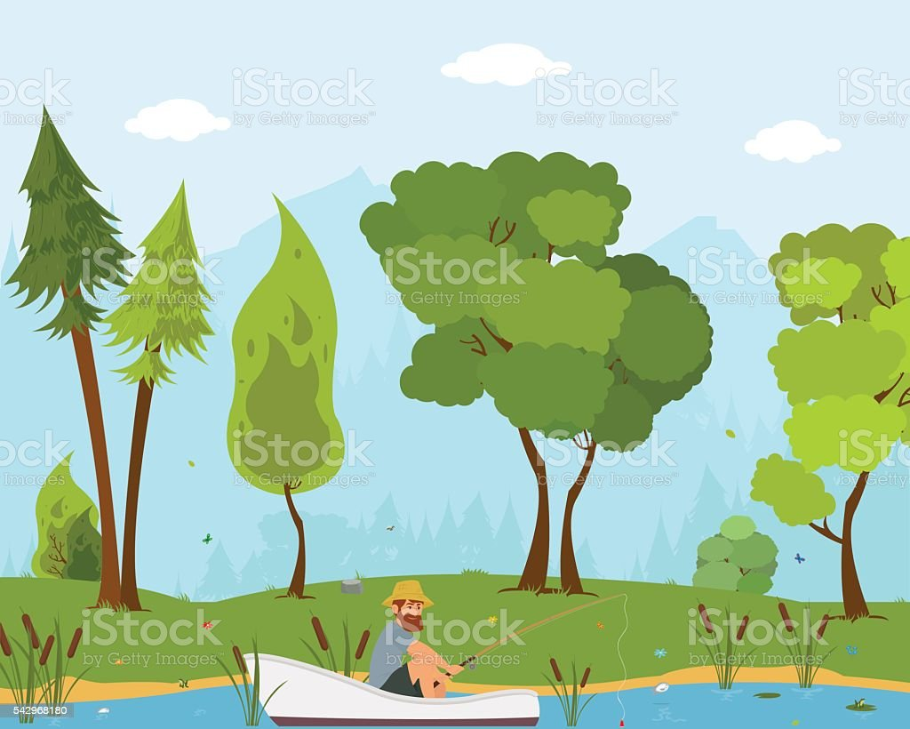 man fishes in a boat on the river. vector art illustration