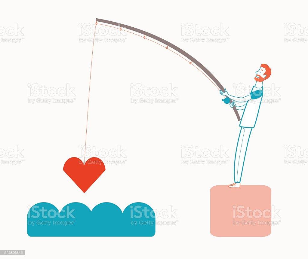 Man fishing love vector art illustration