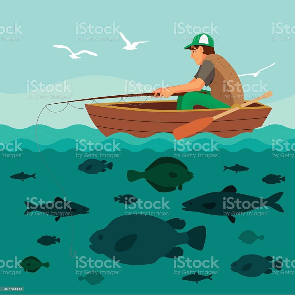 Man fishing on the boat. Lots of fish vector art illustration
