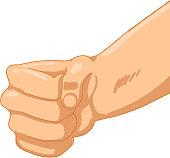 Man Fist on white background. Vector illustration