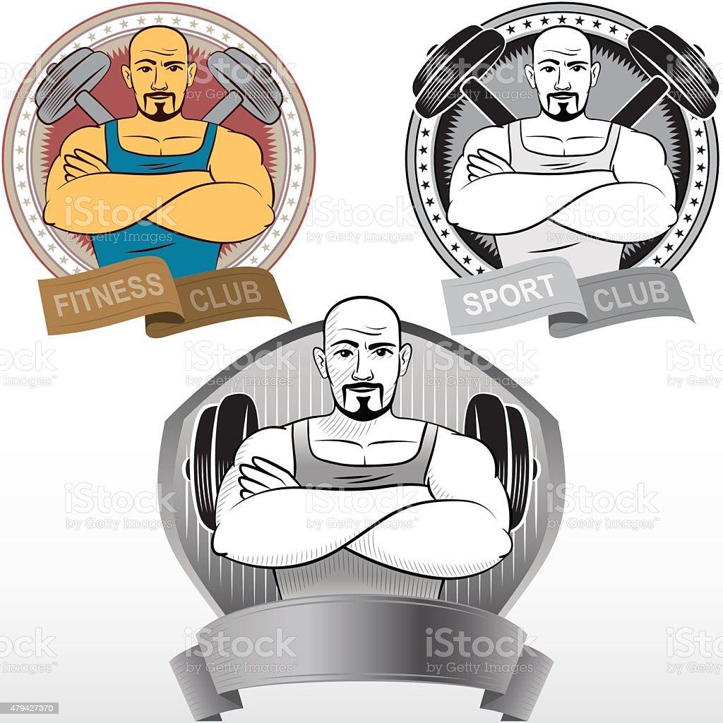 Man Fitness Sport Athletics bodybuilding powerlifting club medal vector art illustration