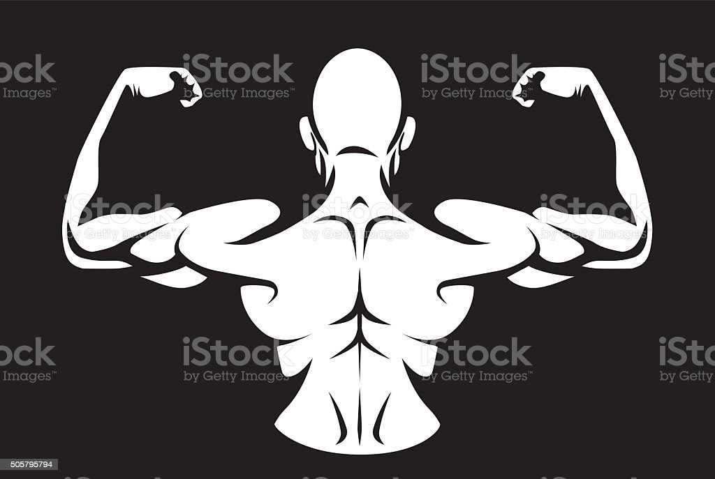 Man flex his back muscles vector art illustration