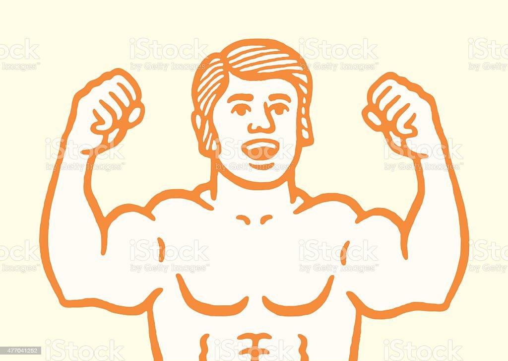 Man Flexing vector art illustration