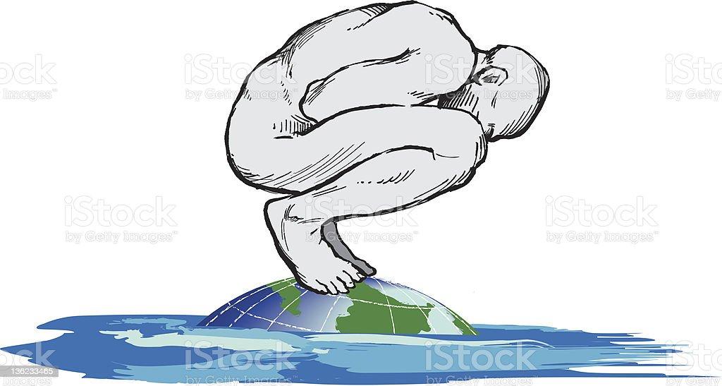 Man floating on globe vector art illustration