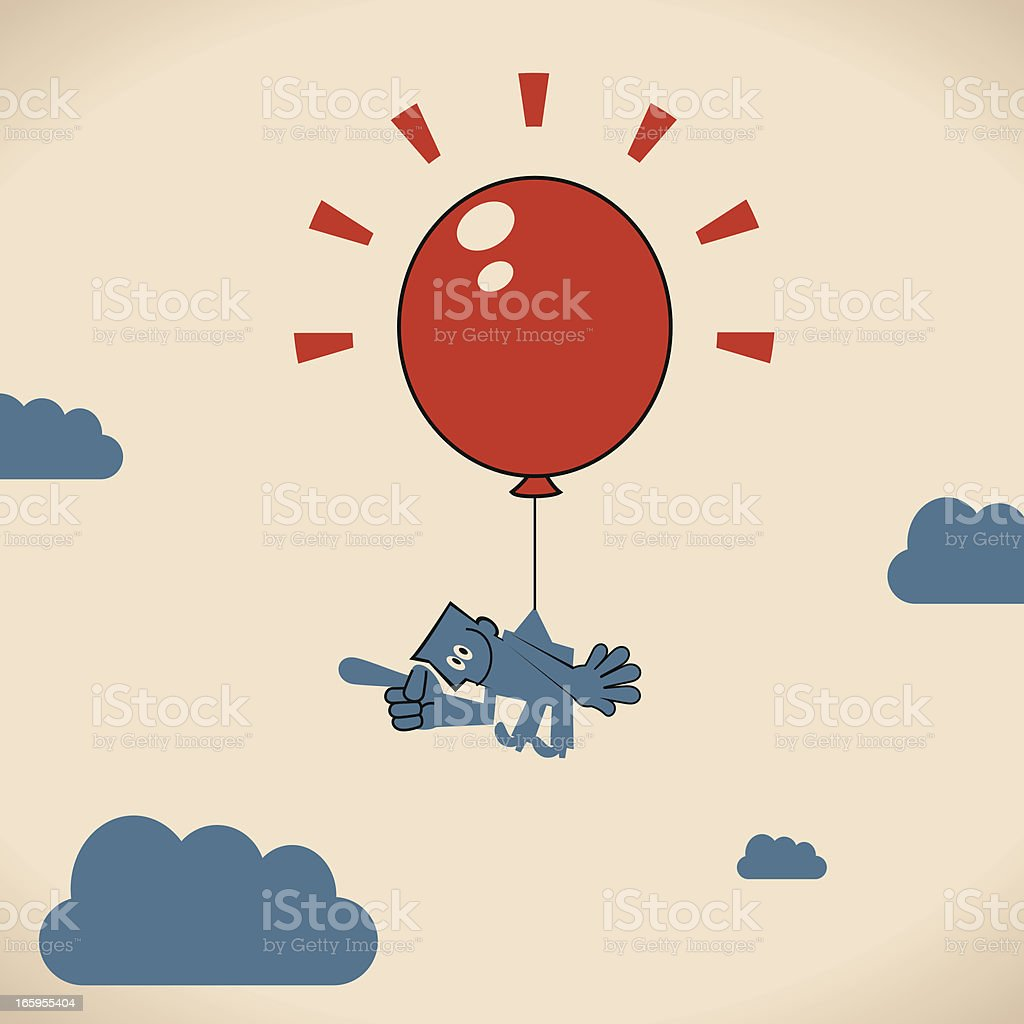 Man floating with a Big Red Balloon royalty-free stock vector art