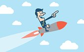 Man flying with a rocket