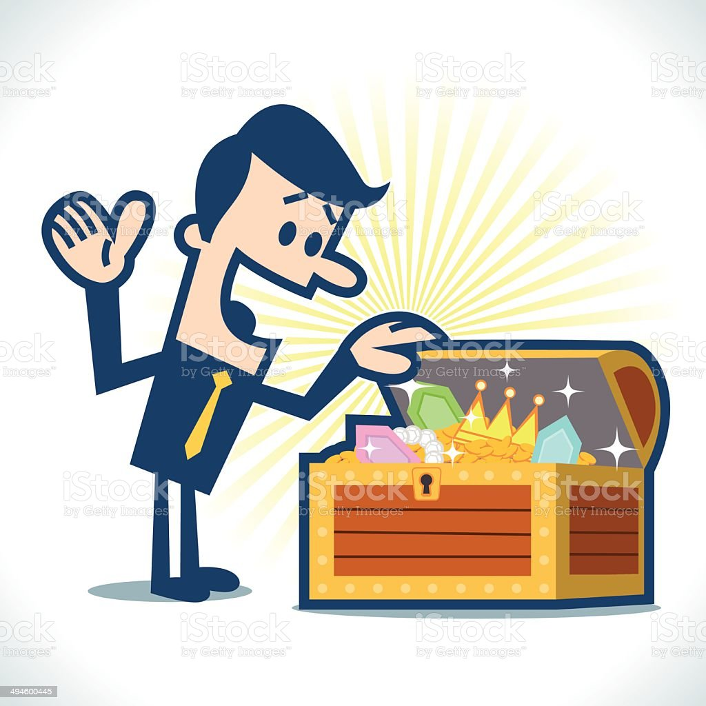 Man found a treasure royalty-free stock vector art