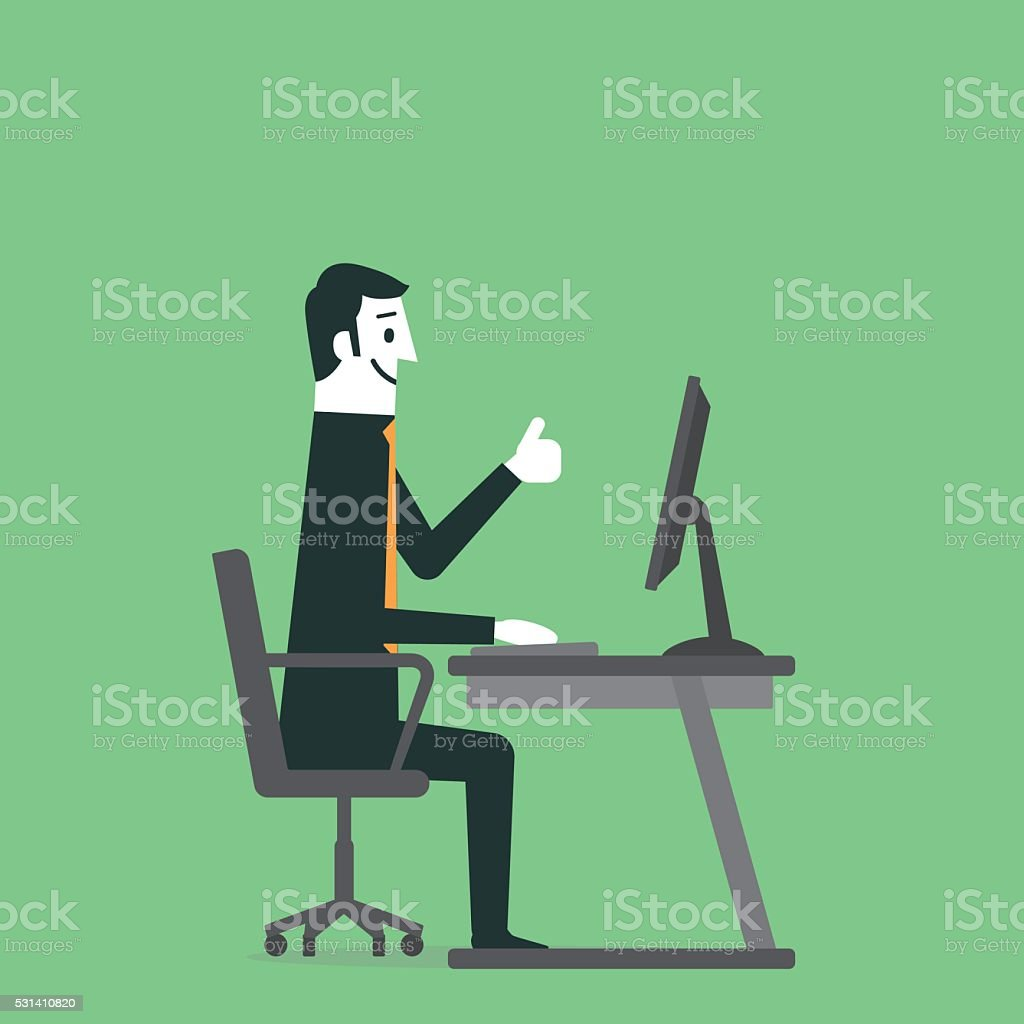 Man gesturing thumbs up vector art illustration