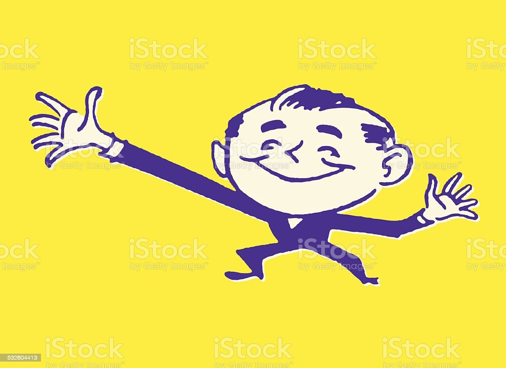 Man Gesturing with One Long Arm vector art illustration