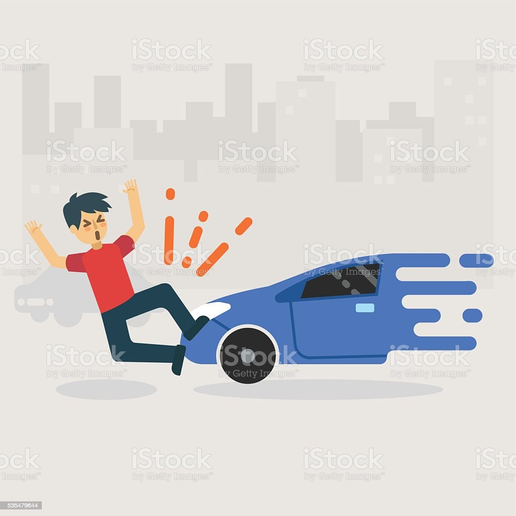 man get accident by car crash on the road vector art illustration