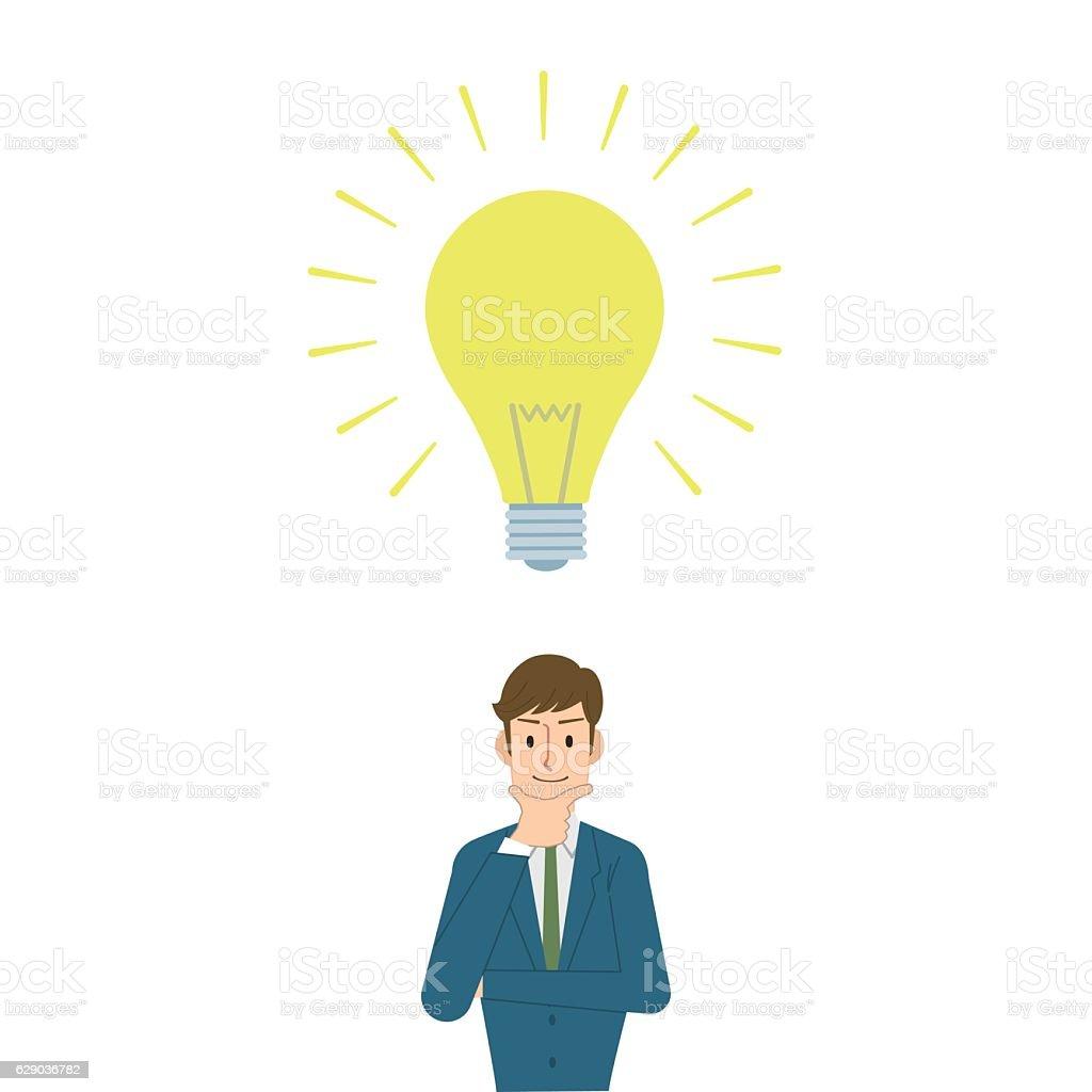Man get the idea vector art illustration