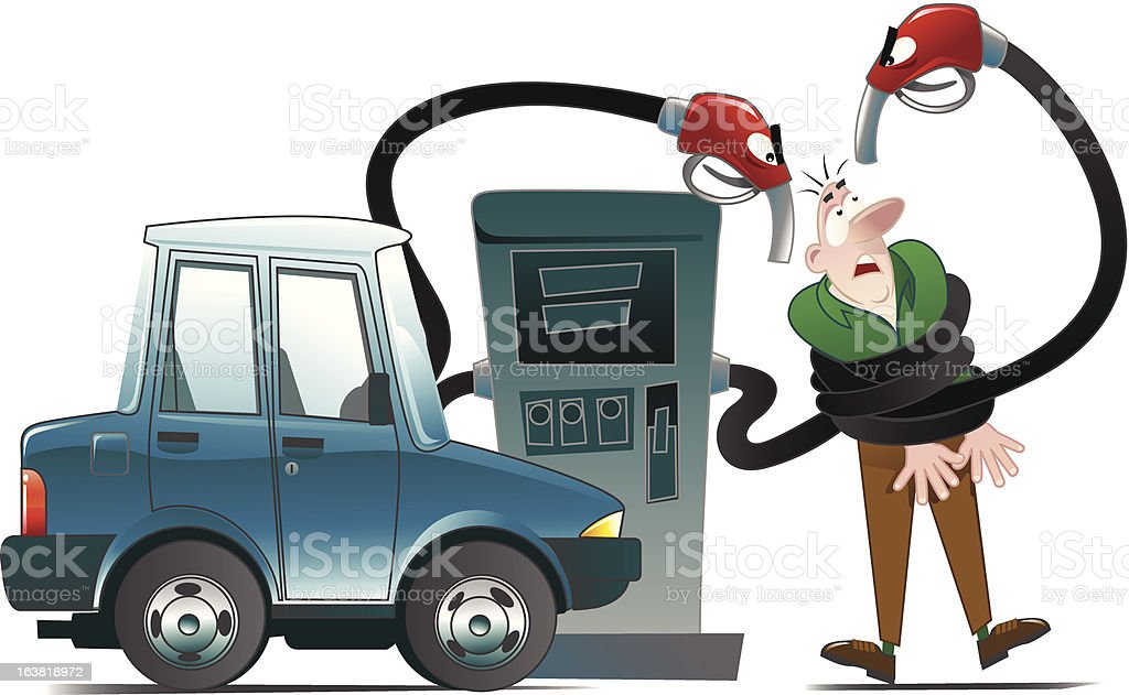 Man getting attacked by fuel pump hose (fully editable) royalty-free stock vector art