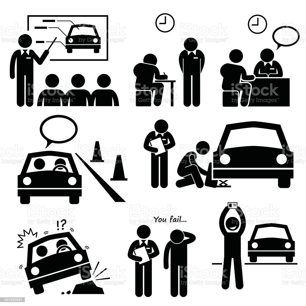 Man Getting Car License from Driving School Lesson vector art illustration