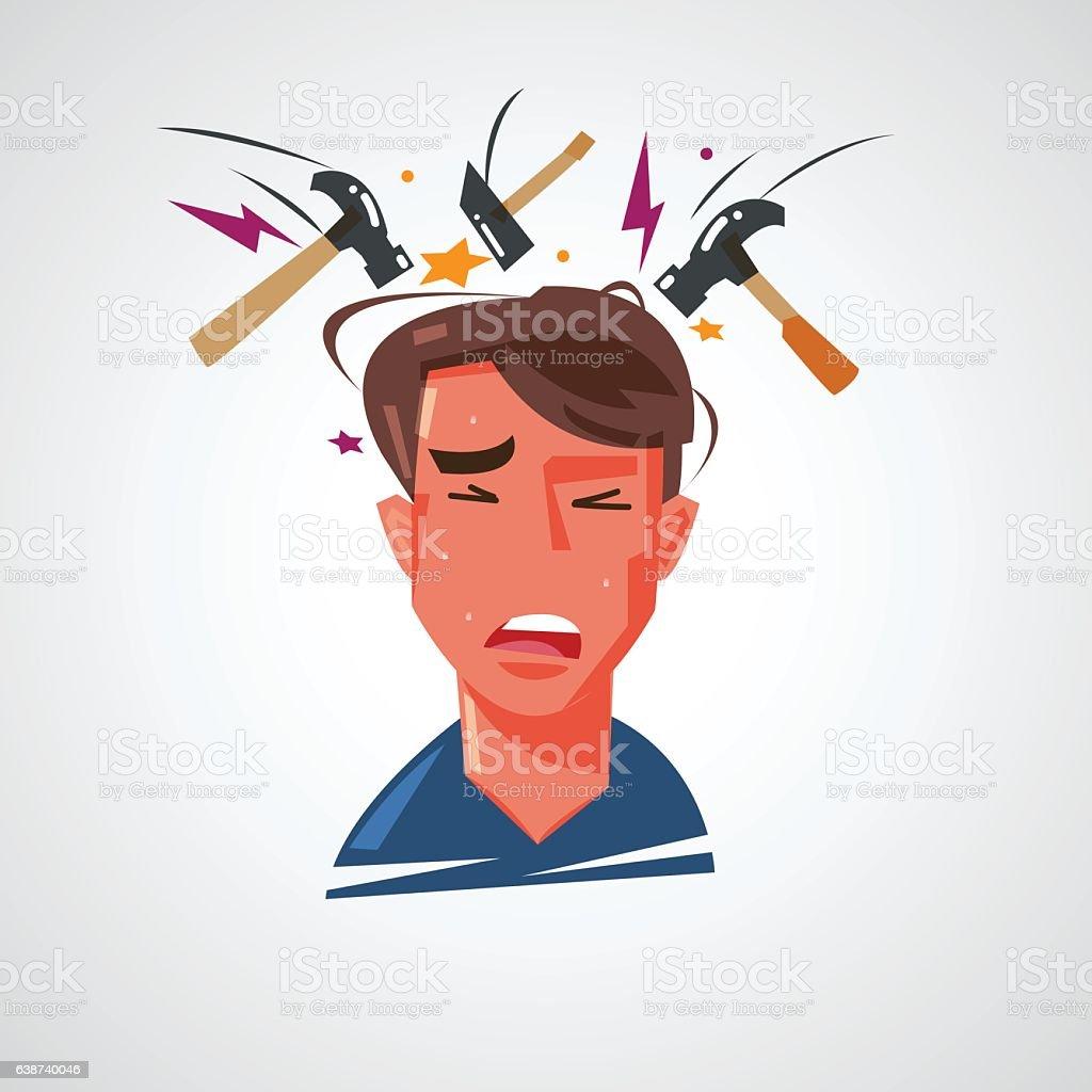 man getting headache with hammer hitting on his head. vector art illustration