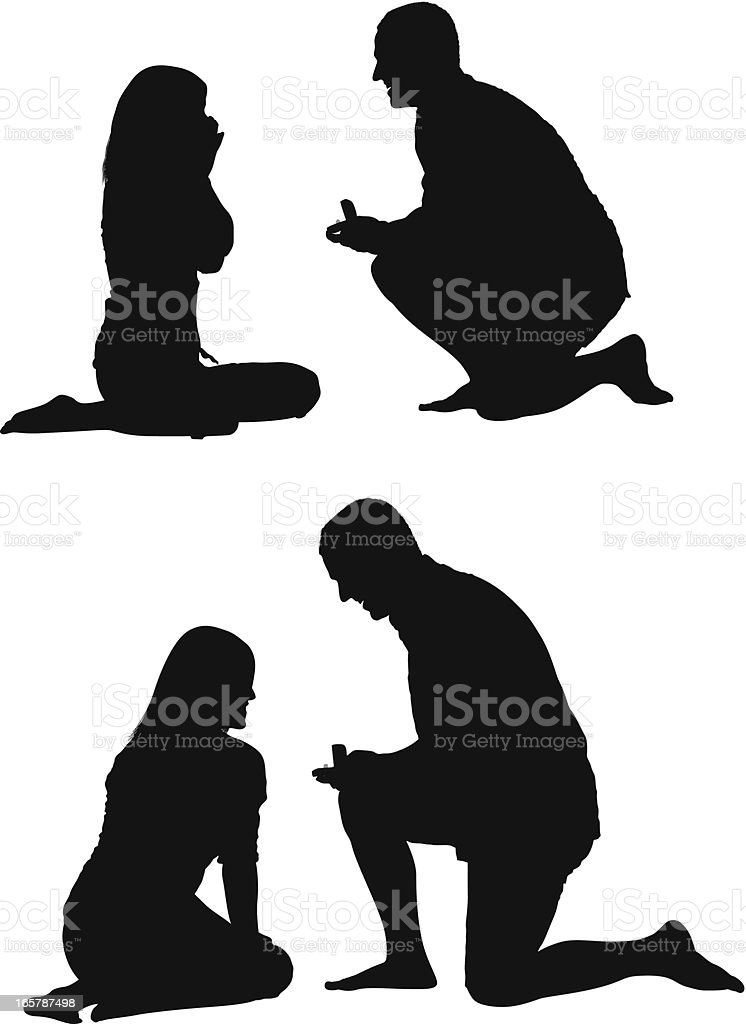 Man gifting ring to his girlfriend vector art illustration