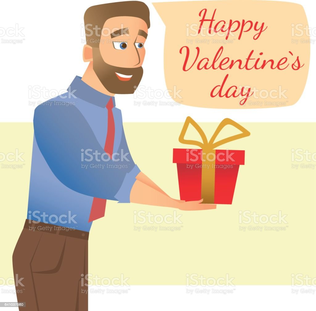 Man gives a gift vector art illustration