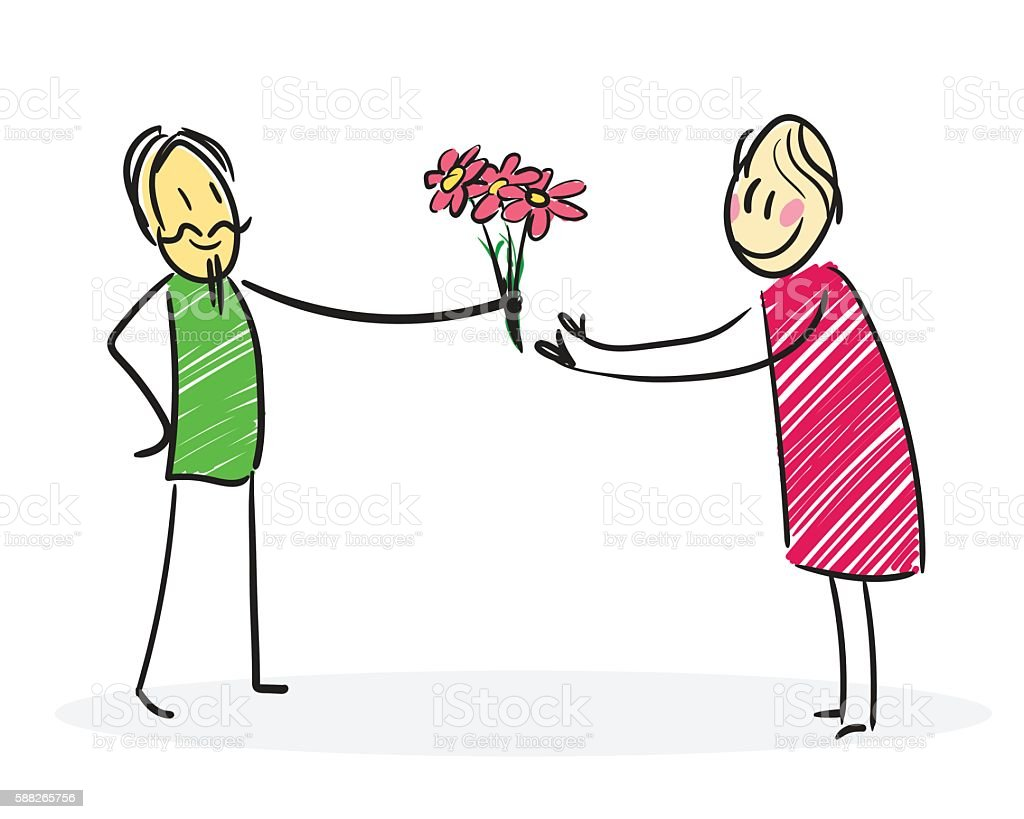 Man gives flowers to a woman vector art illustration